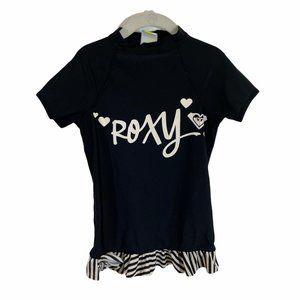 roxy rashguard ruffle black short sleeve  Size: 7